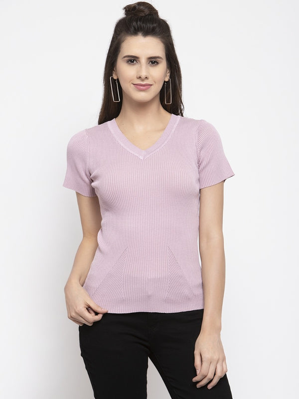 Women Solid Pink V-Neck Top