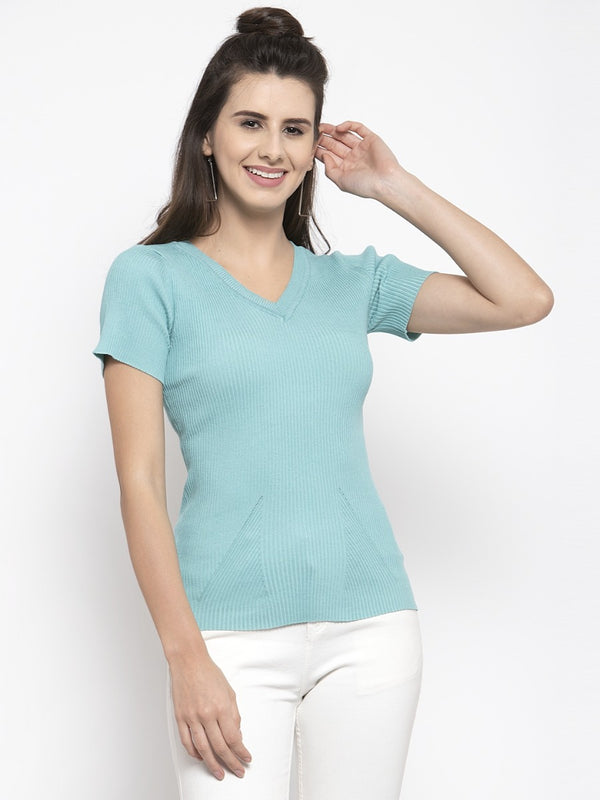 Women Solid Turquoise Blue V-Neck Top