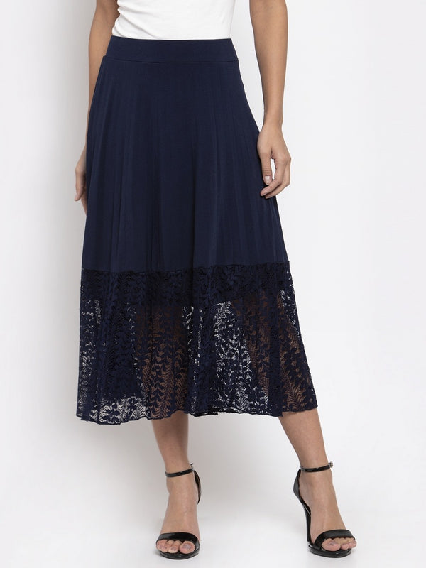 Women Solid Navy Blue Pleated Skirt With Lace Panel