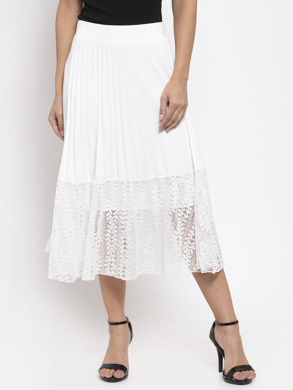 Women Solid White Pleated Skirt With Lace Panel