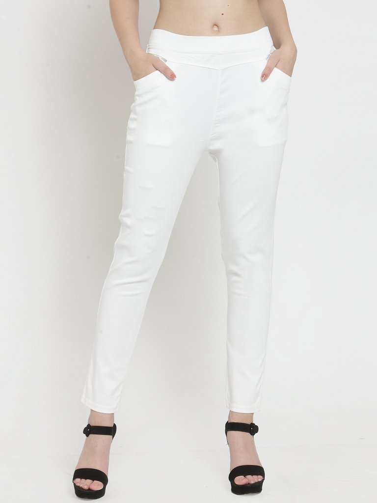 Plain Grey and White Combo of 2 Jeggings