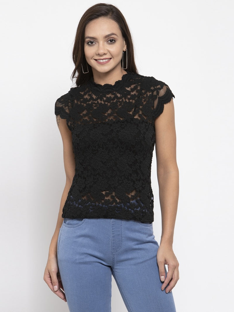 Women Solid Black Lace Round Neck Top