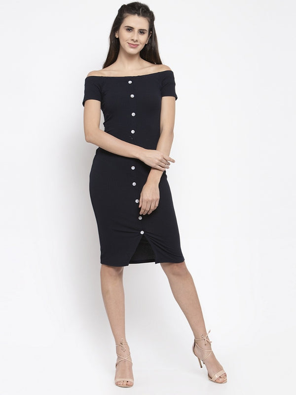 Women Solid Navy Blue Off-Shoulder Bodycon Dress