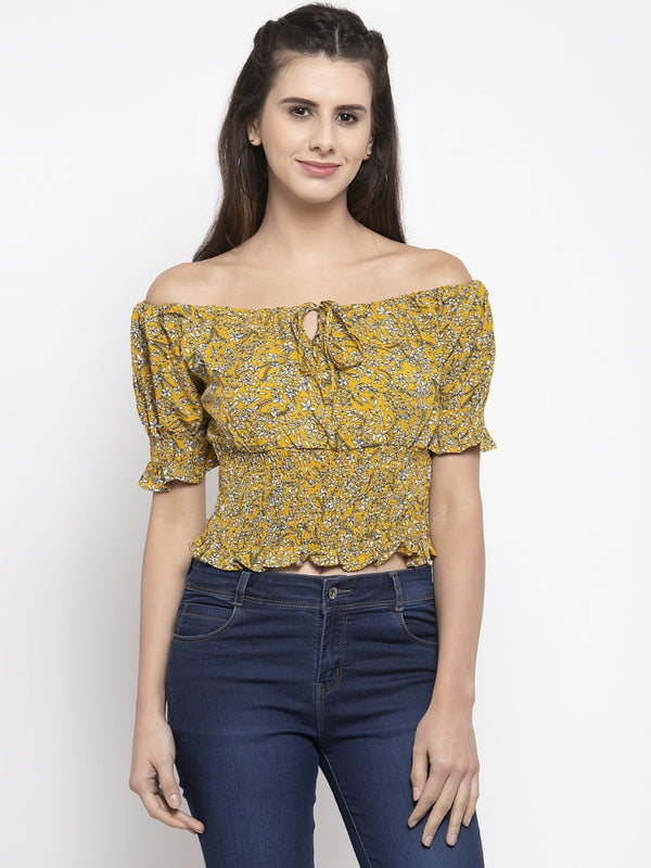 Women Mustard Off-Shoulder Top With Floral Print
