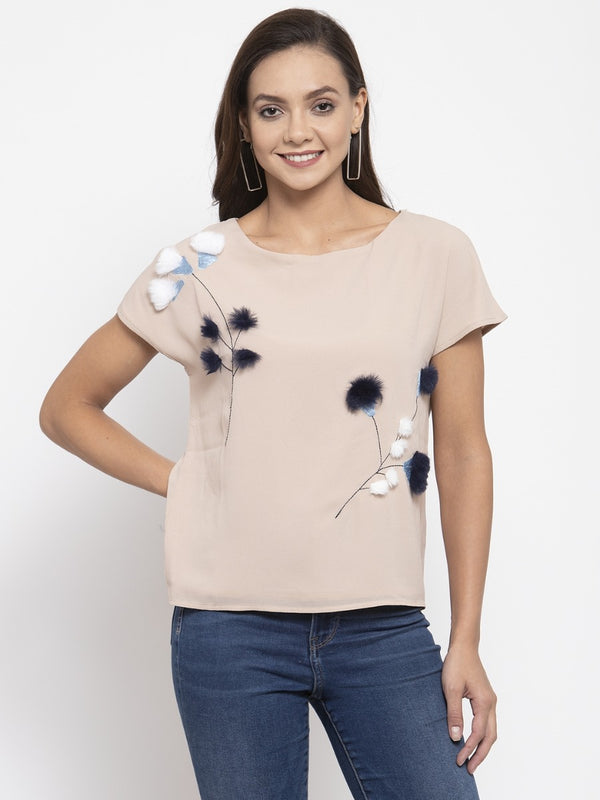 Women Printed Beige Top With Furr Ball Details