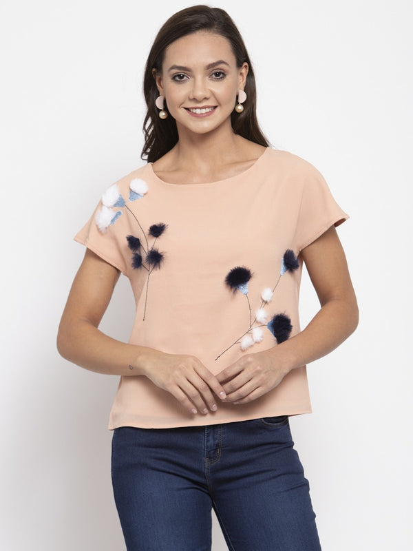 Women Printed Peach Top With Furr Ball Details