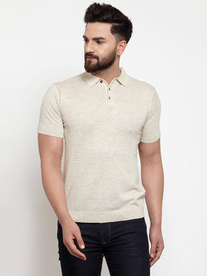 Mens Beige Cotton Solid T-Shirt