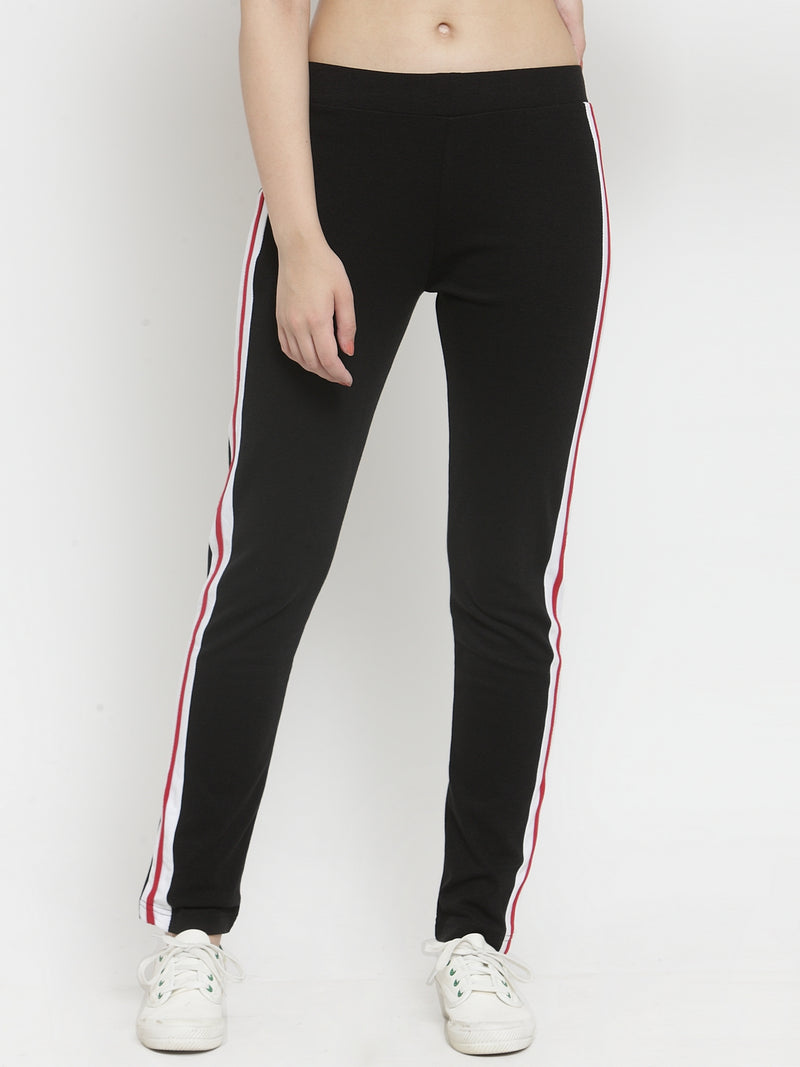 Women Black Tapered Fitted Lower With Stripe Detail