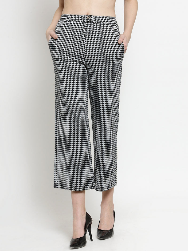 Women Self Design Black  Flared Trousers With Herringbone