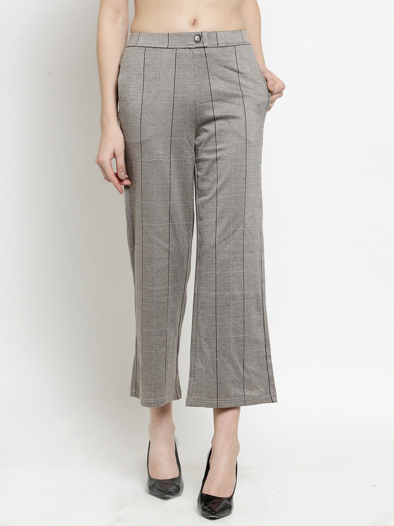 Women Brown Flared Trousers With Stripe Pattern