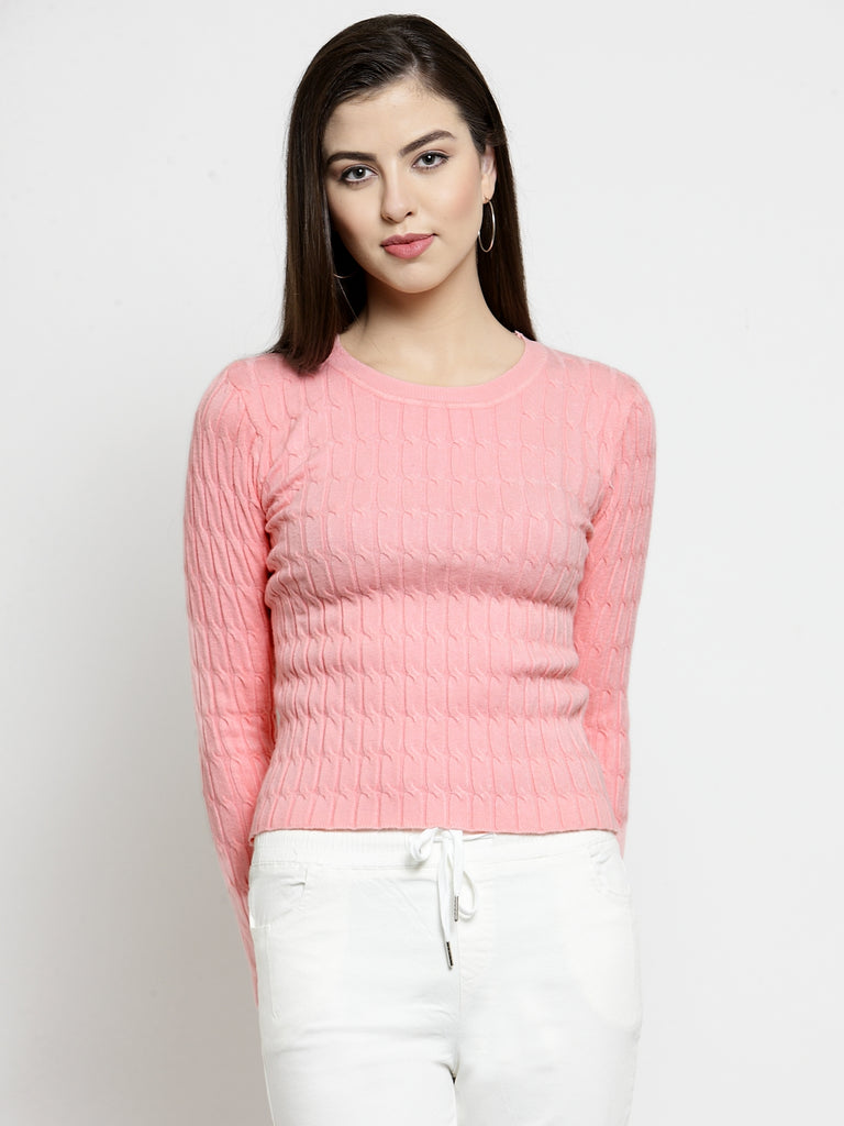 Women Peach-Coloured Self Design Pullover Sweater