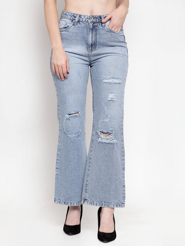 Women Light Blue Denim Solid Jeans