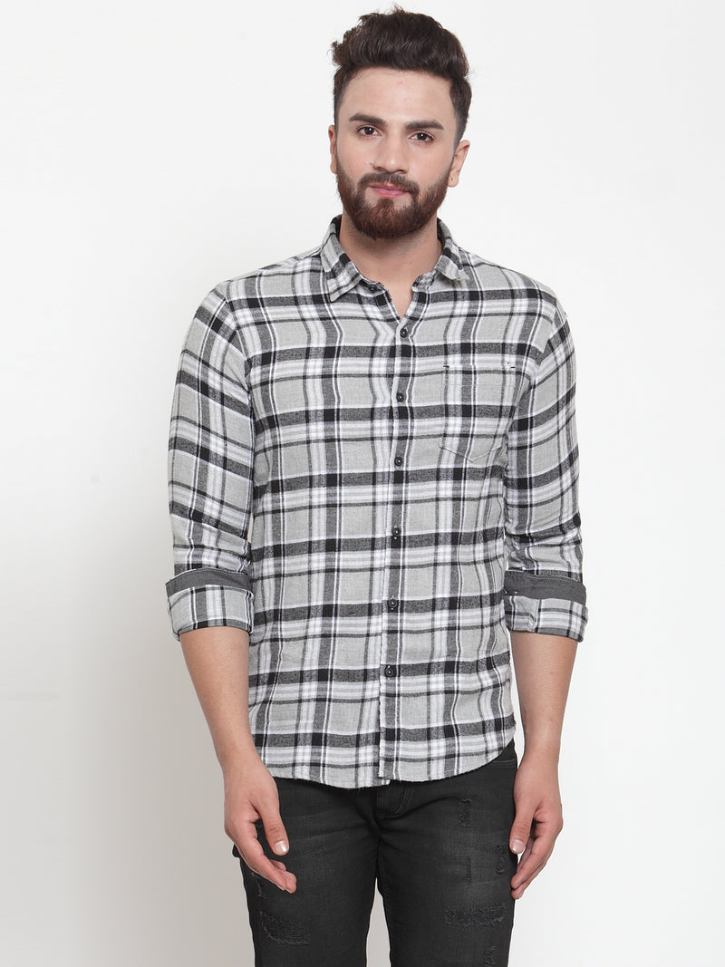 Men Grey Regular Fit Checked Casual Shirt