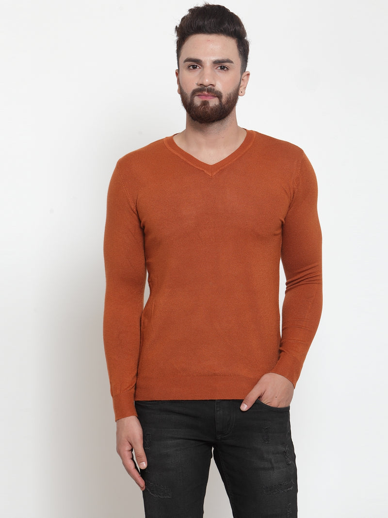 Mens Tan V-Neck Pullover