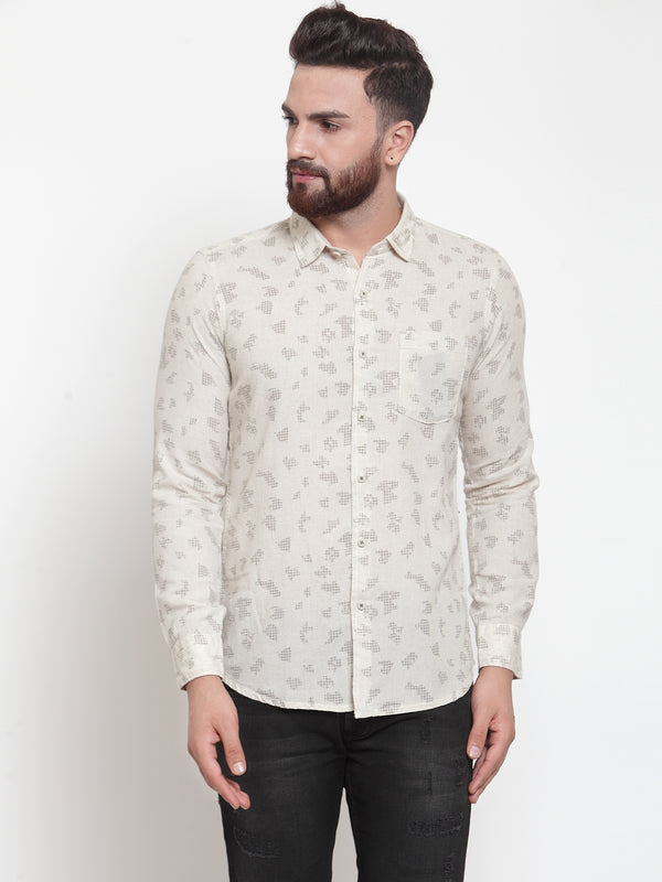Men Khaki Regular Fit Printed Casual Shirt