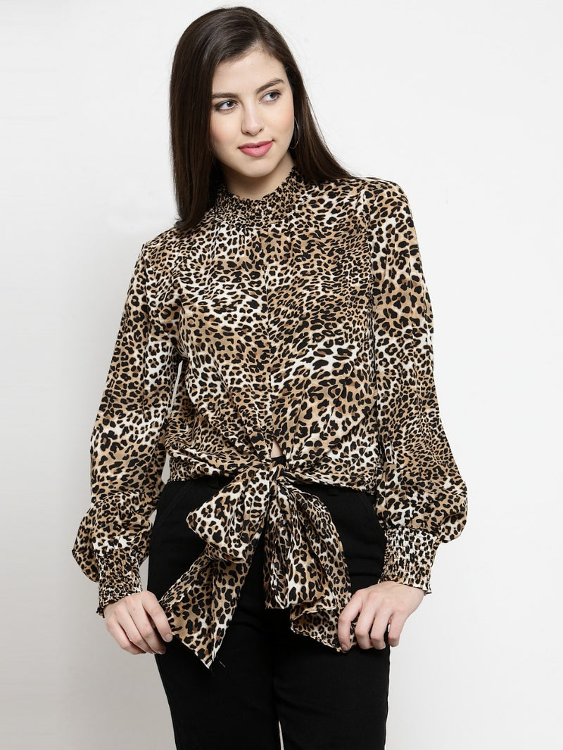 Women Brown & Black Animal Printed Crop Top