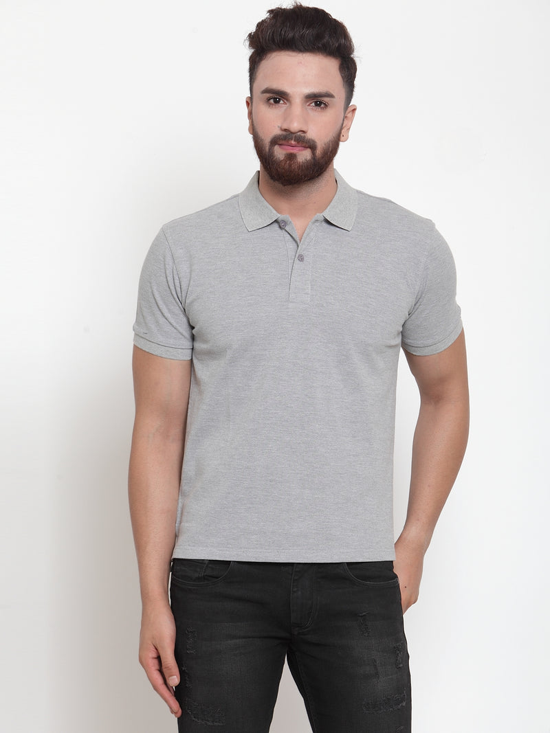Mens Solid Grey Collar Regular Fit Polo T-Shirt