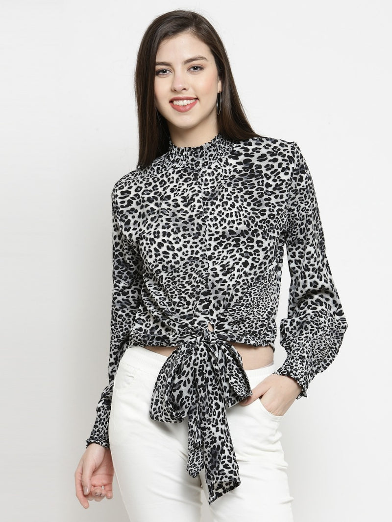 Women Grey & Black Animal Printed Crop Top