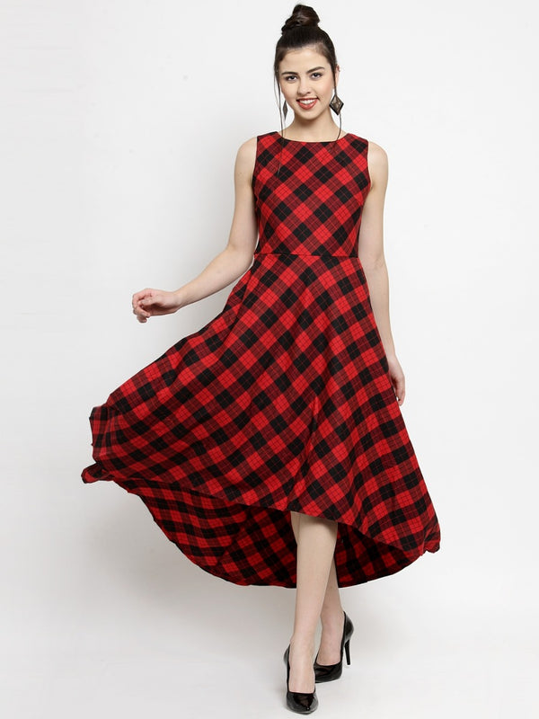 Women Checked Red Round Neck Dress