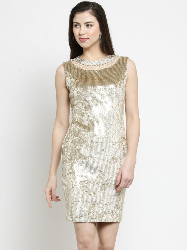 Women Sequined Gold Dress With Embellished Neck