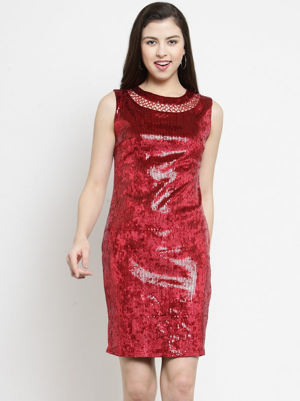Women Sequined Red Dress With Embellished Neck