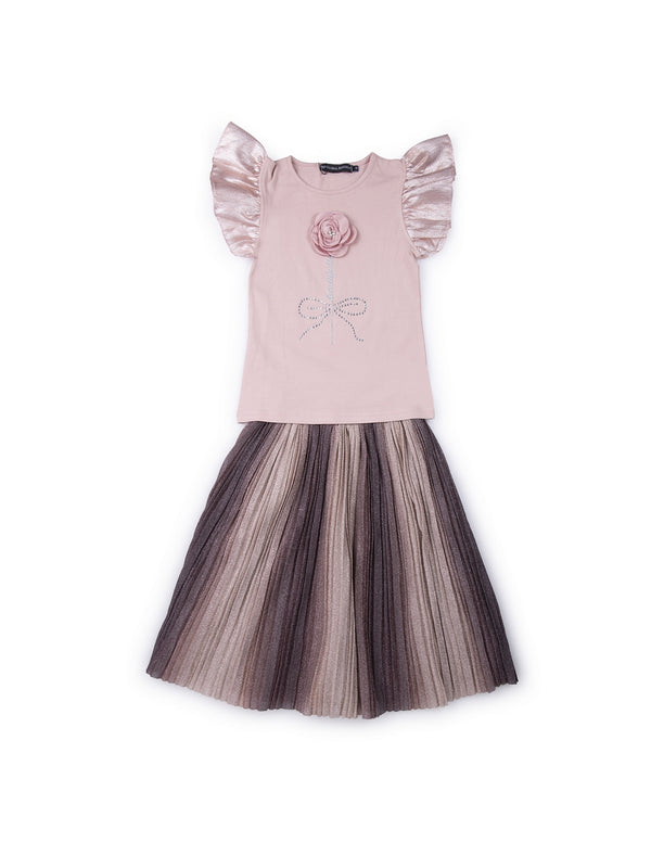 Kids Pink Set Of Top And Skirt