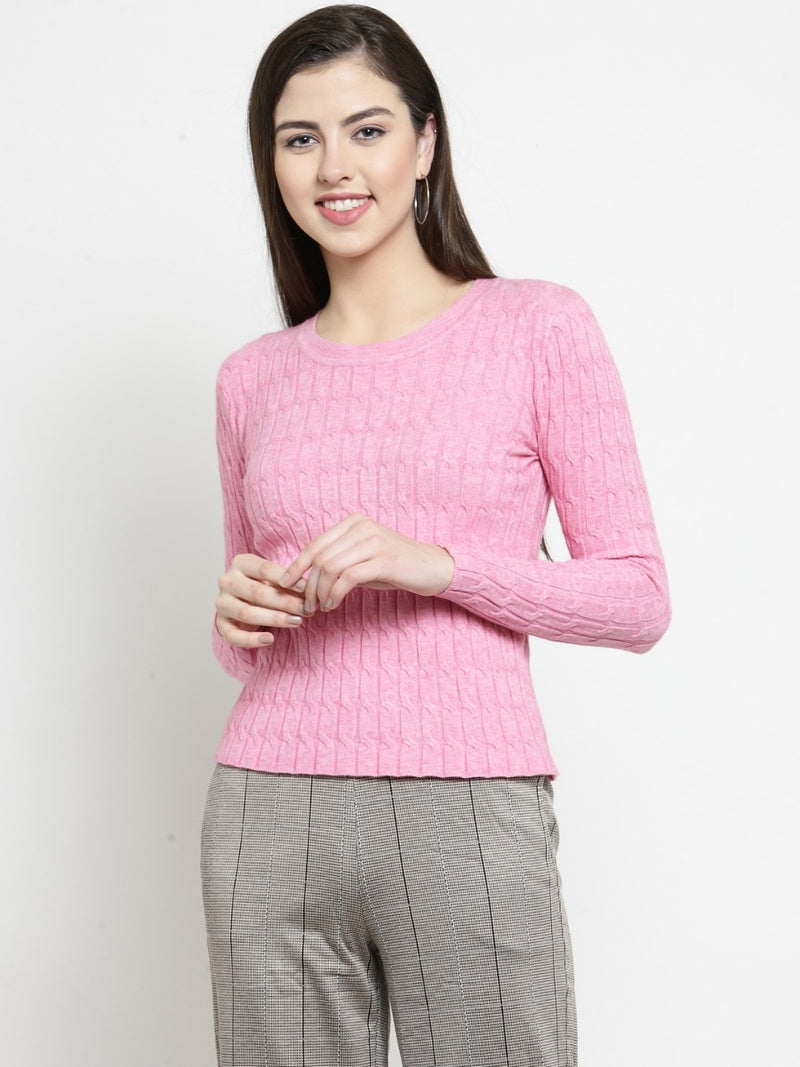 Women Pink Self Design Pullover Sweater