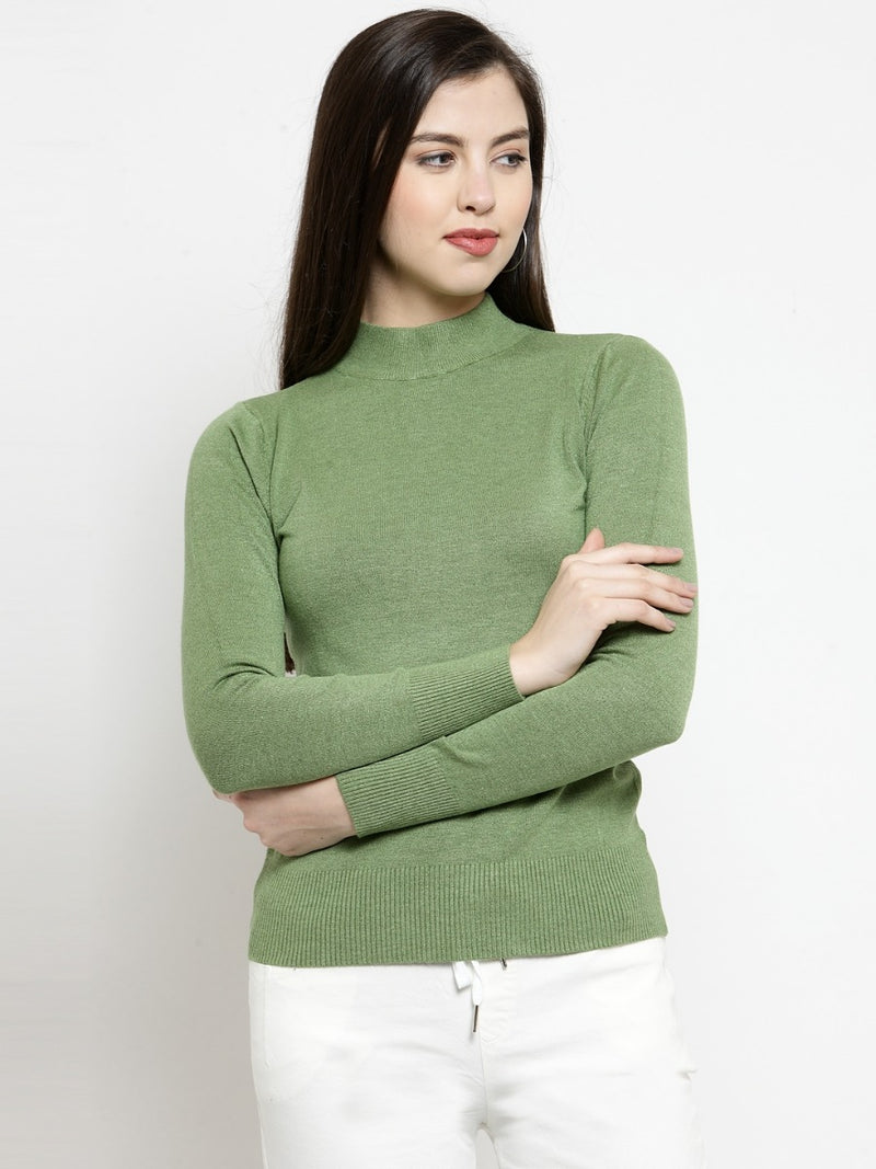 Women Solid Olive Turtle Neck Skeevi