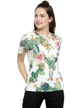 Women White Printed Round Neck Regular Fit Tops