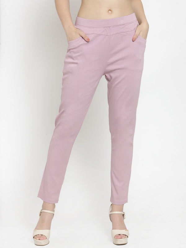 Women Plain Onion Pink Mid-Rise Jegging