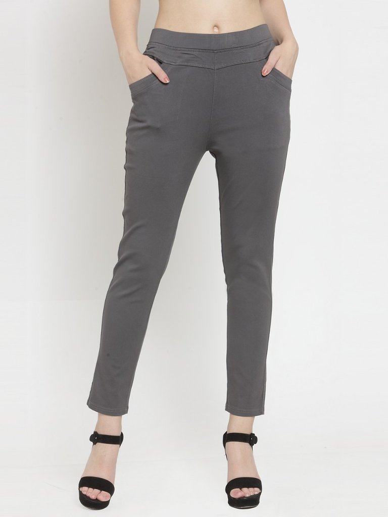 Women Plain Black And Grey Combo Of 2 Mid-Rise Jegging