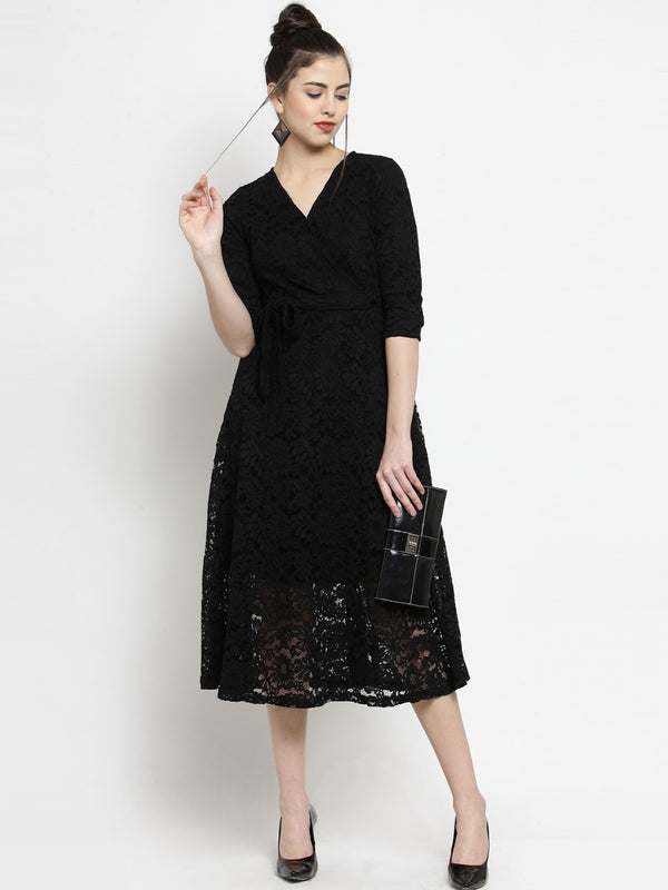 Women Black Lace Wrap Around Dress