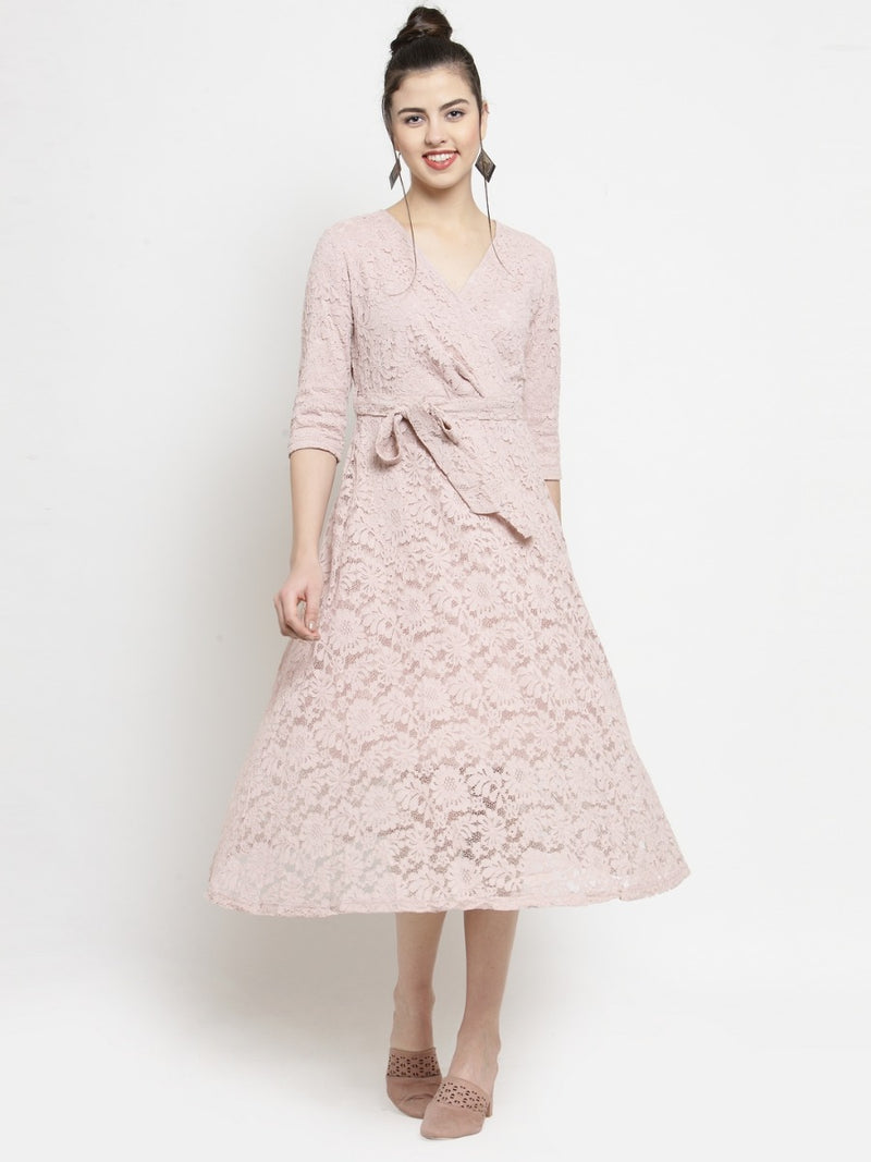 Women Pink Lace Wrap Around Dress