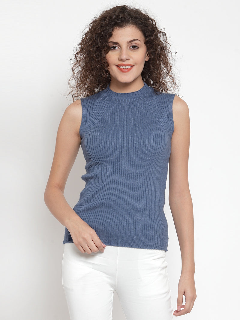 Women Dark Grey Knitted Sleeveless Skeevi Pullover