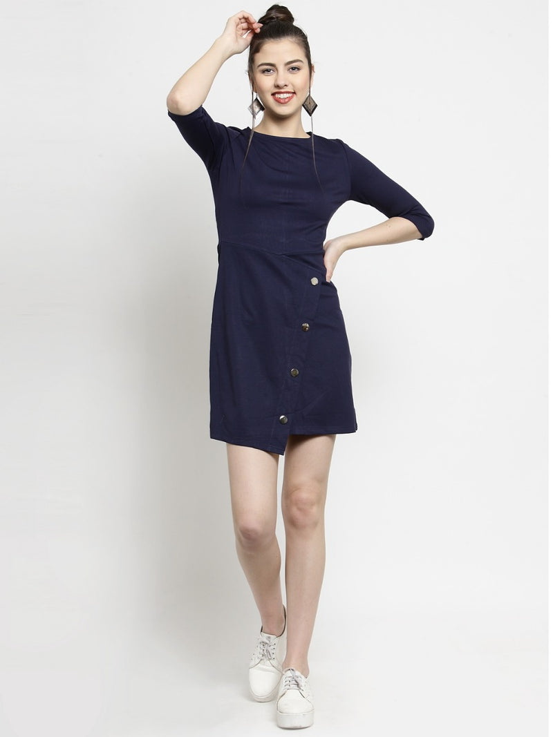 Women Navy Blue Round Neck Shift Dress