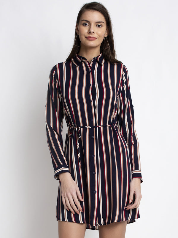 Women Navy Blue Shirt Collar Striped Tunic