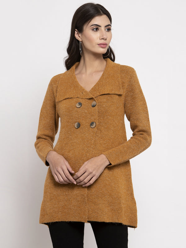 Women Mustard Long Sleeves Solid Coat
