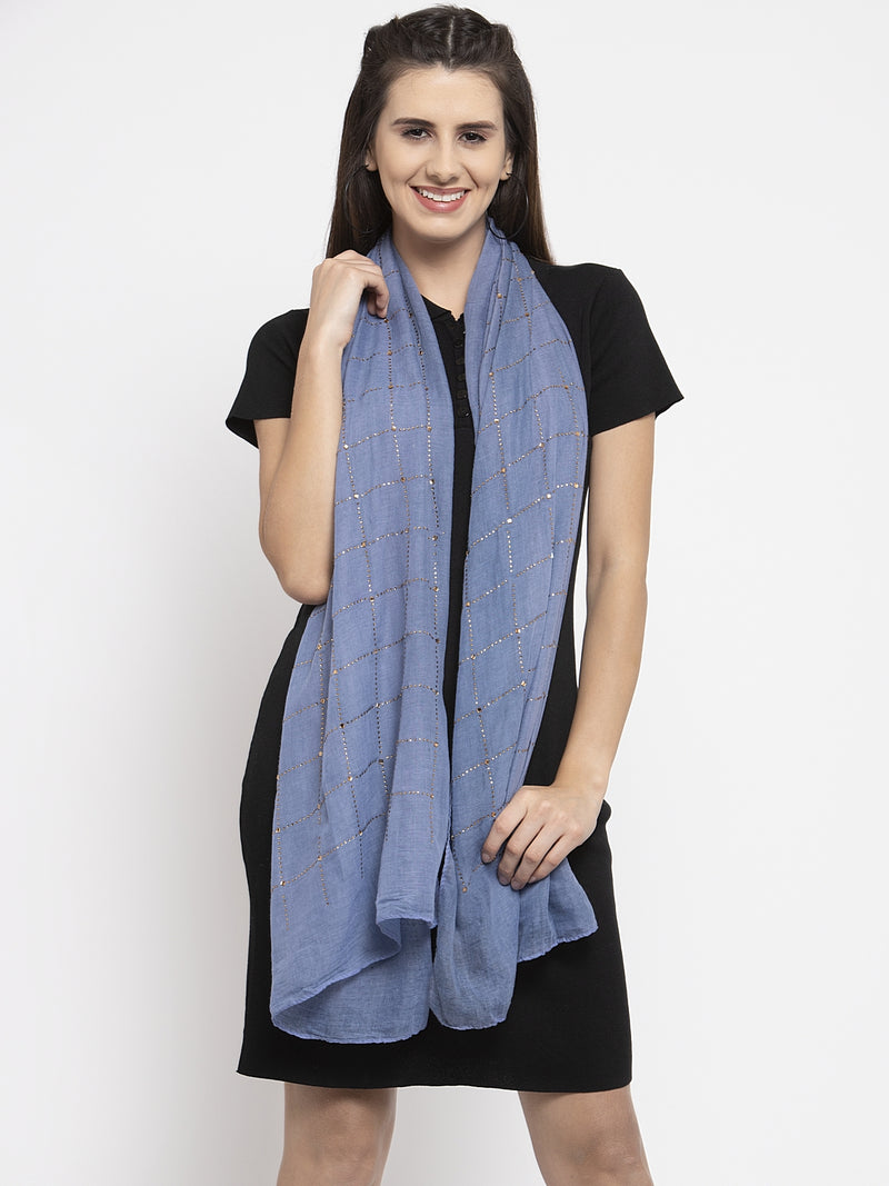 Women Blue Cotton Stole With Checked Beads