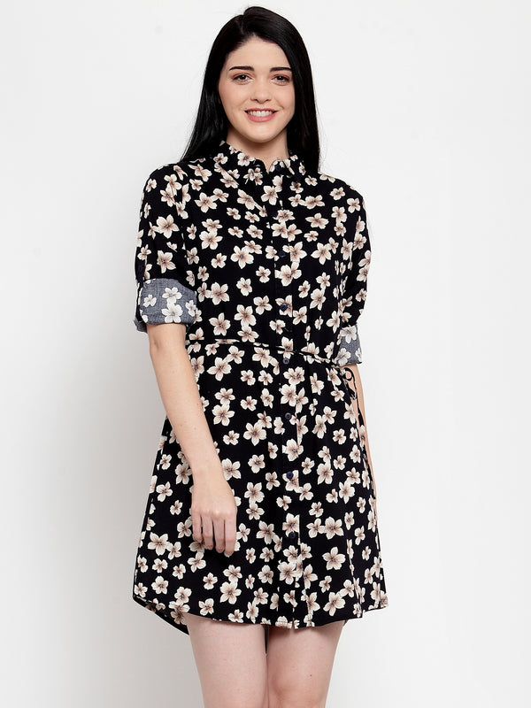 Women Navy Cotton Printed Tunic