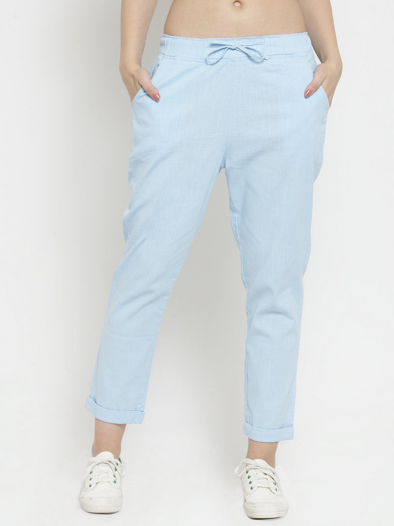 Women Blue Solid Tapered Fit Lower