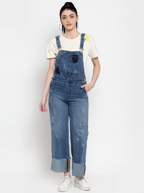 Women Blue Denim Solid Dungaree