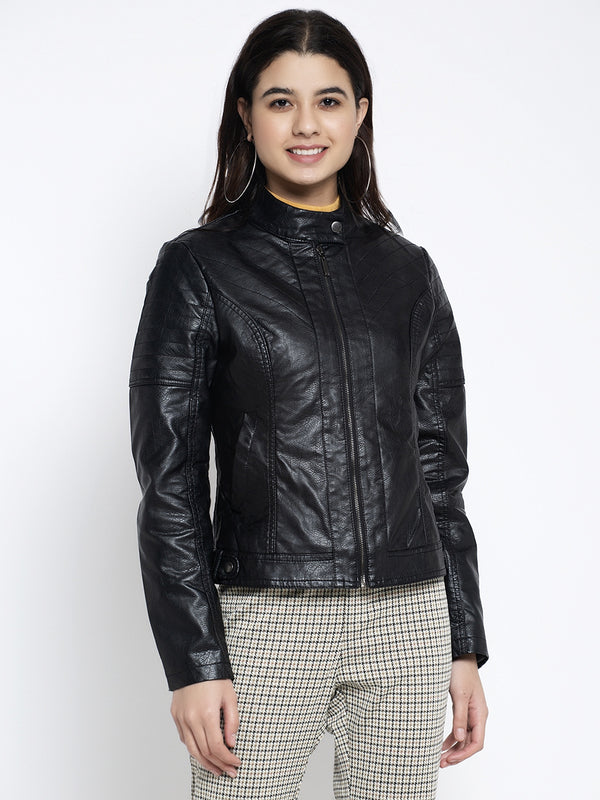 Women Black T- Neck Solid Jacket