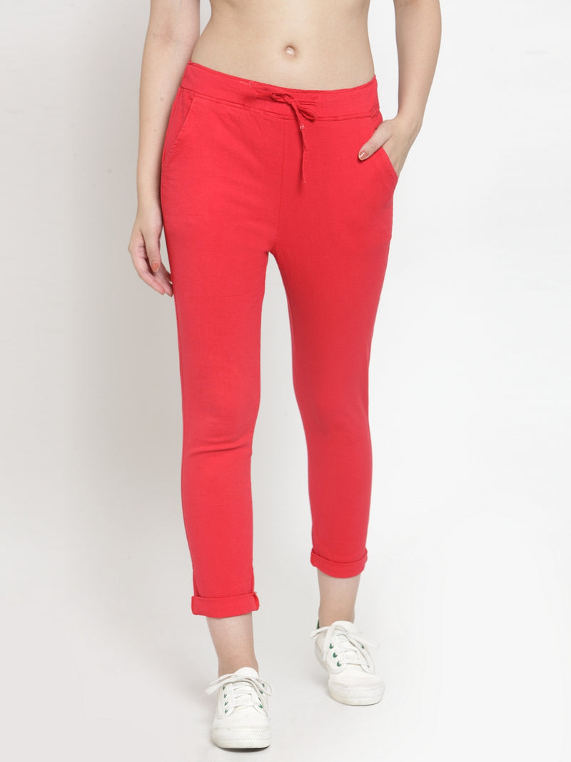 Women Red Solid Tapered Fit Lower