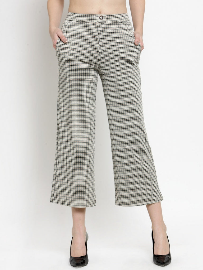 Women Off-White & Black Flared Checked Cropped Parallel Trousers