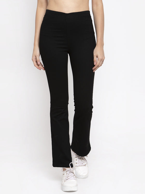 Women Solid Black Denim Jegging