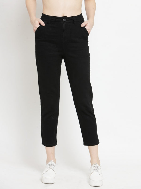 Women Solid Black Ankle Length Trouser