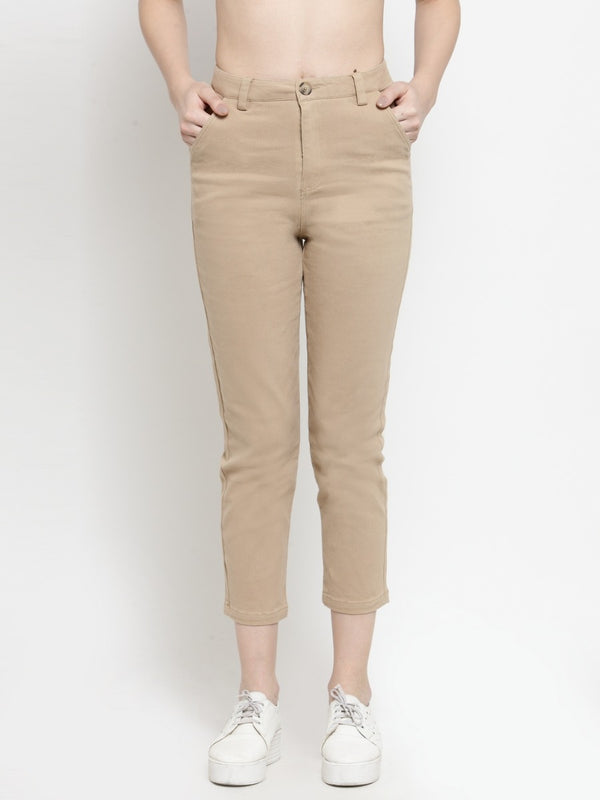 Women Solid Khaki Ankle Length Trouser