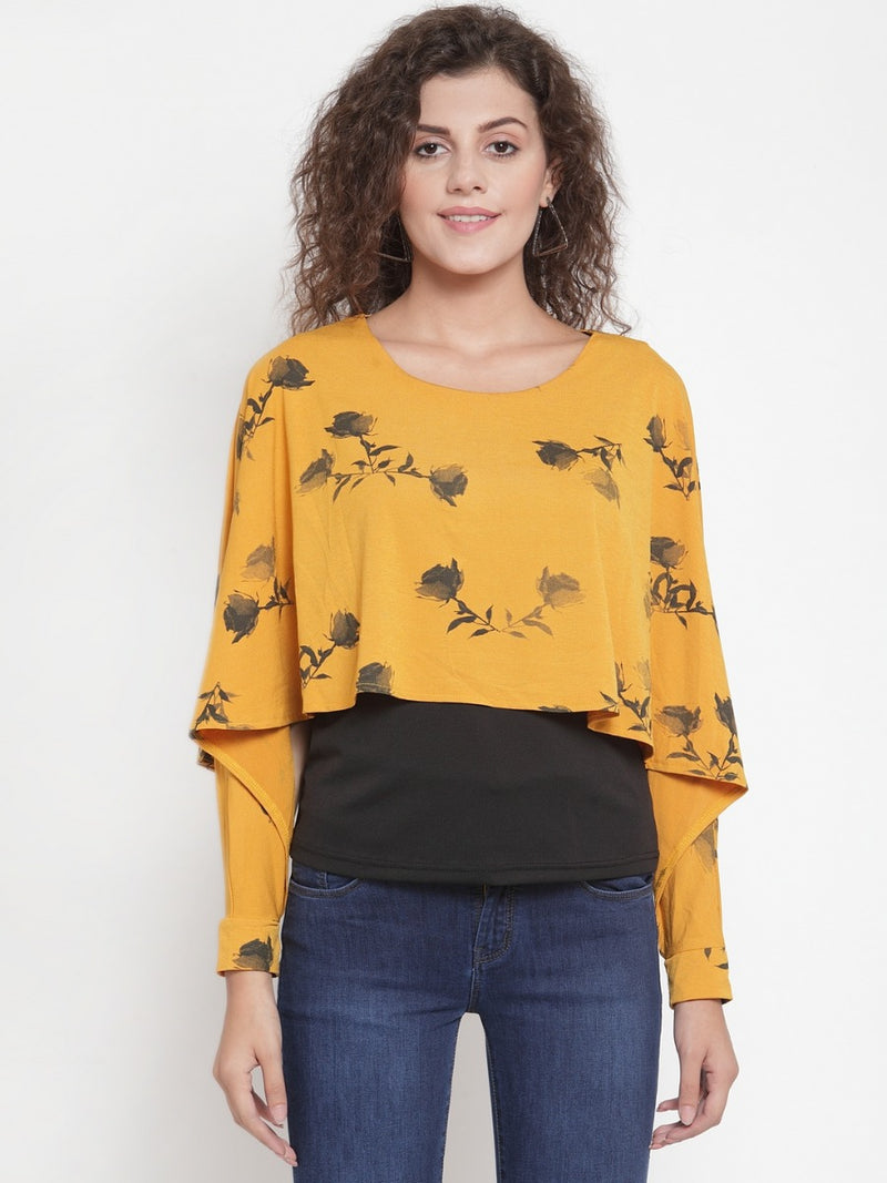 Women Mustard Printed Top With Layering