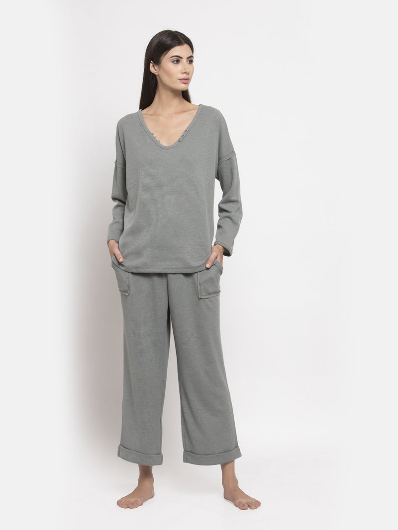 Women Grey Solid V-Neck Night Suit