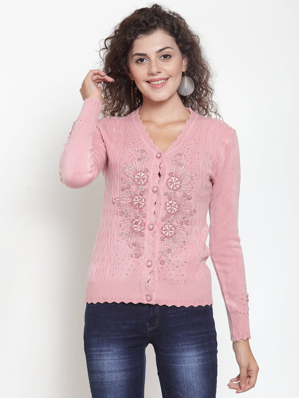 Women Pink V-Neck Embroidered Cardigan